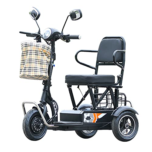 JHKGY 3 Wheel Folding Electric Mobility Scooter -Folding 3-Wheel Electric Mobility Scooter, Lightweight Portable Power Scooter,for Travel, Adults, Elderly - Support 120Kg Weight Only 25Kg