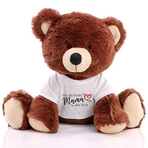 Minifeet Plüsch RecycelBär Spruchbär - Teddybär- Geschenk zu Muttertag T-Shirt Spruch Beste Mama der Welt