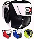 Casque De Boxe pour Enfants Cuir Liani Casque De Boxe Junior pour Garçons Filles Casque De Boxe MMA Arts Martiaux Le Karate Protecteur De Casque De Le Taekwondo Protection Auditive du Front De Combat