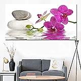 N / A HD Imprimer Violet Orchidée Zen Spa Pierre Style Toile Peinture Affiche Mur Art Photo Salon Décoratif sans Cadre