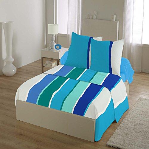 HOME LINGE PASSION Parure de Drap 4 Pièces 240x300 cm, 57 Fils Free Stripes, Coton, Bleu