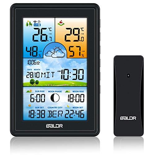SH.RATE 2021 Wetterstation Funk mit Außensensor und Farbdisplay 150 Städte Sonnenaufgang und Sonnenuntergang Digital Thermometer-Hygrometer Berührungsempfindliche