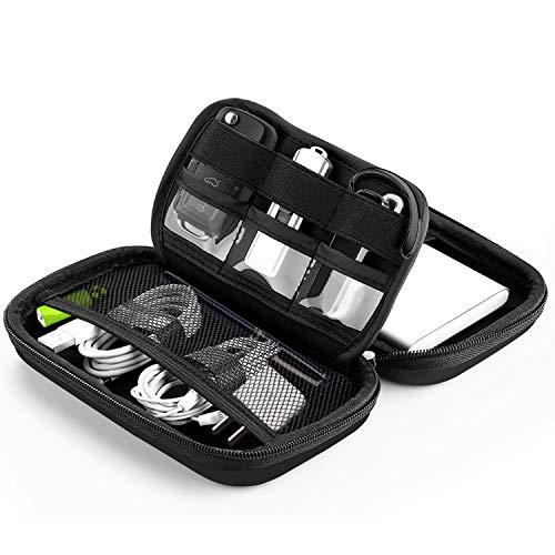 "Bapack Funda Disco Duro Externo 2,5"", Escuche para Cables Impermeable Bolsa de Cable Multifucional para Viaje Cables USB Power Bank Auriculares Tarjeta de Memoria- Negro"