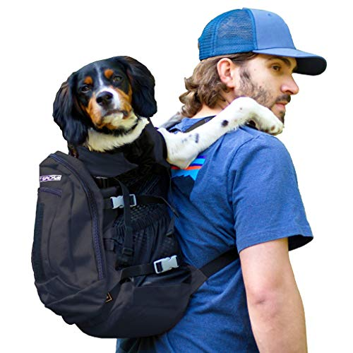 K9 Sport Sack | Dog Carrier Backpack for Small and Medium Pets | Front Facing Adjustable Dog Backpack Carrier | Fully Ventilated | Veterinarian Approved (Large, Air Plus - Jet Black)