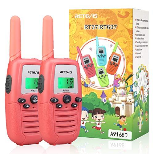 Retevis RT637 Walkie Talkie Kinder,Spielzeug Geschenk für Kinder, PMR446 16 Kanal Taschenlampe VOX Einfache Bedienung, Kinder Funkgeräte für Camping, Garten oder Indoor-Spiele(Rosa, 1 Paar)