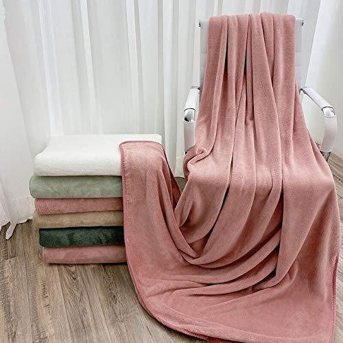 tongchuang Manta cálida para salón de belleza en otoño e invierno para dormitorio de estudiantes, manta individual para siesta en la oficina (color: marrón cameo, tamaño: 140 x 180 cm)