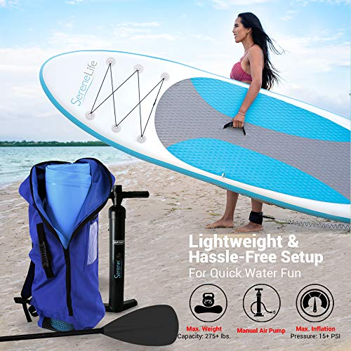 Product Image 7: SereneLife Inflatable Stand Up Paddle Board (6 Inches Thick) with Premium Accessories & CarryBag   Wide Stance, Bottom Fin for Paddling, Surf Control, Non-Slip Deck