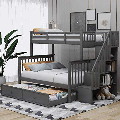 Merax Solid Wood Twin-Over-Full Stairway Bunk Bed with Twin Size Trundle, Storage and Guard Rail for Kids, Adults, No Spring Box Needed (Grey)