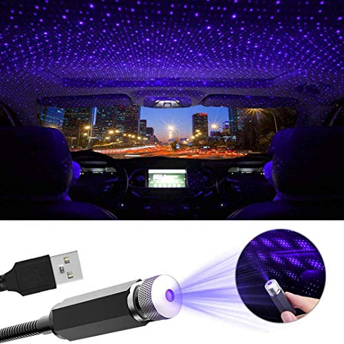 USB Car Roof Star Night Light, Adjustable USB Flexible Interior LED Show Romantic Atmosphere Star Light Night Projector for Car, Ceiling, Bedroom, Party and More (Black) (Blue)