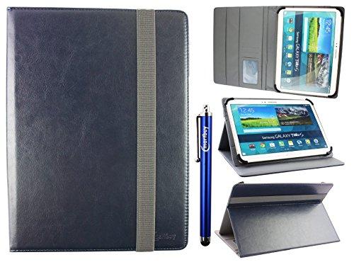 emartbuy Universal 9-10 Zoll Midnight Blau Multi Angle Folio Brieftasche Case Cover Mit Card Slots Grau Elastische Strap Und Stylus Stift Geeignet Für Ausgewählte Geräte Aufgeführt Unten