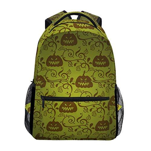 Unisex Multifunction Rucksack,Boy School Book Bag,Men/Women Travel Knapsack,College Backbag,Girl Casual Daypack,Kids/Adult Laptop Backpack,Happy Halloween Green Leaf Pumpkin