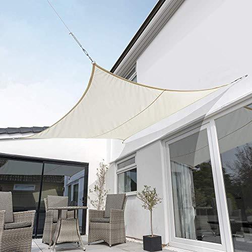 FFAN Toldo de Vela Impermeable Kookaburra para jardín, Color Marfil, 98% de Bloque UV (triángulo de 5 m) Good Life