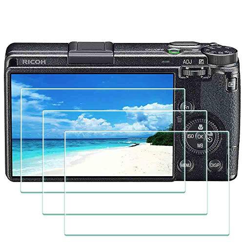 GR III Displayschutzfolie für Ricoh GR III Digitalkamera, ULBTER 0,3 mm Härtegrad 9H Ricoh GRIII Bildschirmschoner Kantenschutz Anti-Scrach Anti-Fingerprint Anti-Bubble [3er-Pack]