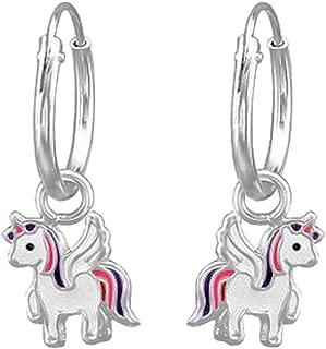 violet et blanc en argent sterling 925 Laimons Boucles doreilles pendantes pour enfant Licorne Rose