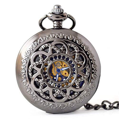 DHRH Reloj de Bolsillo y Cadena Personalizados, Reloj de Bolsillo de Cuarzo Vintage Retro Romano Azul Reloj de números Romanos Steampunk (Gris)