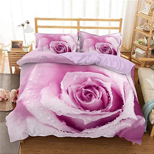 WGLG Double Duvet Set, 3D Digital Printing Classic Pink Rose Flowers Duvet Cover Pillowcase Home Textiles 3Pcs Set Bedclothes