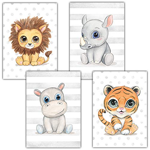Frechdax® Kinderzimmer Deko 4er Set Poster Baby Wandbilder DIN A4 | Waldtiere Safari Afrika Tiere Tierposter (4er Set Löwe, Nashorn, Nilpferd, Tiger)