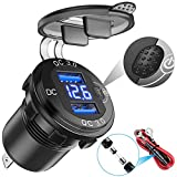 YONHAN [Upgraded Version] Quick Charge 3.0 Dual USB Car Charger with Voltmeter & ON/Off Switch, Metal 36W 12V USB Outlet Fast Charger for Car Boat Marine ATV Truck and More