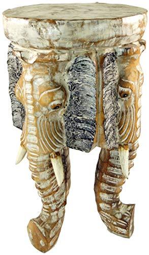 Guru-Shop Bloemenbankje, Krukje, Driepotig Bijzettafeltje, Decoratief Object Olifantenkopje - 50 cm, Helder, Kleur: Helder, Decoratieve Objecten
