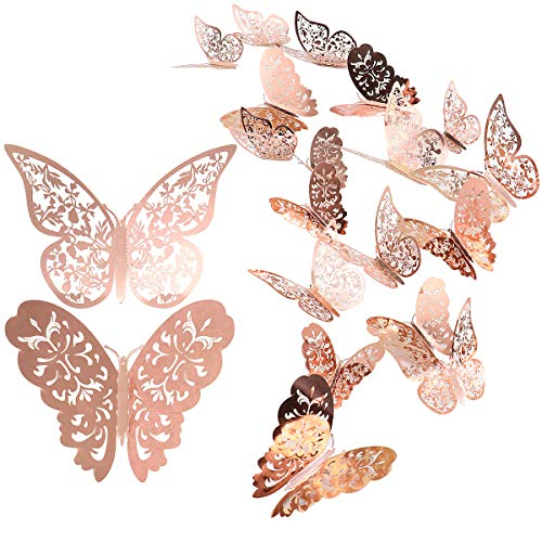 24 Stück Schmetterling Wandaufkleber, Mixed 3D Schmetterlinge Wandtattoos, lebendige Flash Wandaufkleber für Zuhause, Schlafzimmer, Baby Room Decor (Roségold)