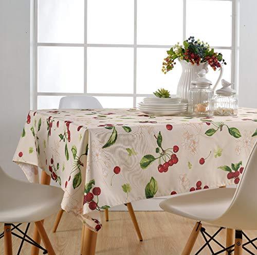 TWYYDP Nappe Imperméable Rectangulaire Nappe en Polyester Imprimé Fleur De Fruits Cerise Staubtuch, Urlaub Bankett Tischtuch,140x250cm
