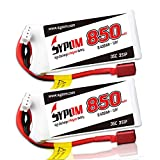 SYPOM 850mAh 35C 3S 11.1V LiPo Battery Pack with Dean(T) Plug for FPV Racing/RC Plane/RC Airplane/RC Helicopter/RC Car/RC Truck/RC Boat(2Packs)
