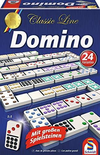 Schmidt Spiele 49207 Classic Line, Domino, mit großen Spielsteinen, bunt