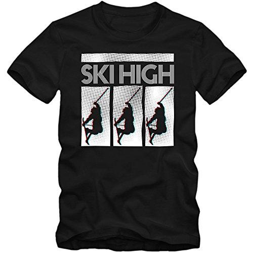 Ski High T-Shirt | Wintersport | Snowboarden |Schnee | Après Ski | Ski | Herrenshirt, Farbe:Schwarz (Deep Black L190);Größe:M