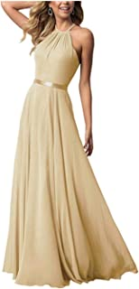 Bridesmaid Dresses Long Halter Chiffon A line Prom Formal Wedding Party Dresses for Women
