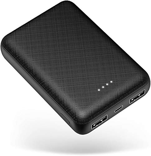 POSUGEAR PowerBank 10000mAh, Bateria Externa Movil, Cargador Portatil Mini, con 2 USB Salidas 5V (2.1A + 1A), Compatible con iPhone, Samsung, Huawei, iPad, etc. (Negro)