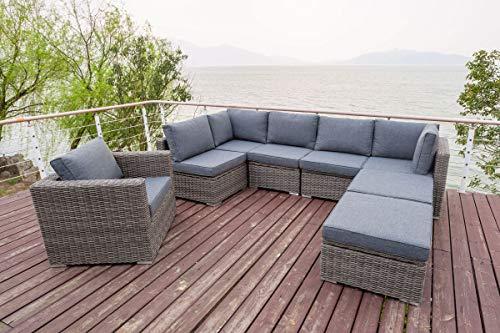 OUTFLEXX Loungemöbel-Set, grau aus Polyrattan-Geflecht, 8 Personen, mit Sessel, verstellbare Sitzflächen, wasserfeste Kissenbox