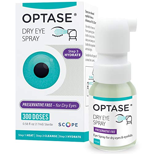 Optase Eye Spray - Preservative Free Eye Drops Spray for Dry Eyes - Moisturizing Artificial Tears in a Convenient Sterile Spray - Natural Hydrating Relief - Contact Lens Safe - .58 fl oz, 300 Doses