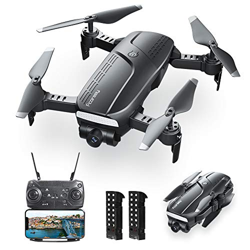 Drones with Camera for Adults, Fcoreey Foldable Drone with 1080P HD Camera FPV Live Video for Kids and Beginner, Quadcopter with 2 Battery, Altitude Hold, Headless Mode and One Key Take Off/Landing