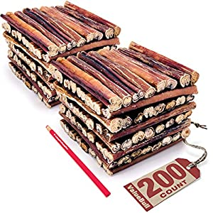 ValueBull Bully Sticks for Dogs, Thick 6 Inch, 200 Count – All Natural Dog Treats, 100% Beef Pizzles, Single Ingredient Rawhide Alternative