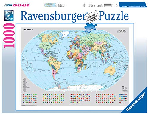 Ravensburger Puzzle 15652 - Politische Weltkarte - 1000 Teile Puzzle für Erwachsene und Kinder ab 14 Jahren, Puzzle-Weltkarte mit Flaggen