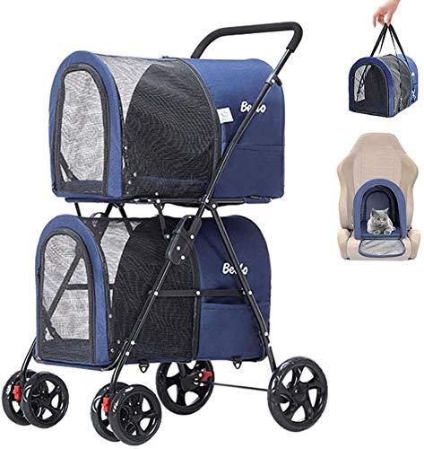 Sooiy Abnehmbare 3-in-1 Verwenden Sie Dual-Pfad Haustier Kinderwagen, Hund Katze Kinderwagen Kinderwagen-Buggy des Rüttler mit 4 Rädern und 2 tragbarem Reise-Transport,Blau