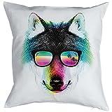 Kissen incl Füllung, Dekokissen, Couchkissen mit coolen Wolf Portrait - Summer Wolf