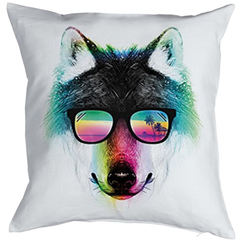 Unbekannt Wolf Motiv Kissen - Kuschelkissen bunter Wolf Wildtiere : Summer Wolf Kissenbezug ohne Füllung Farbe: Weiss