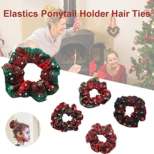 Weihnachten Plaid Haargummis,Awhao 5 STÜCKE frauen Chiffon Blume Haarschleife Elastische Haargummi Seile Bands Haarschmuck für Frauen Mädchen