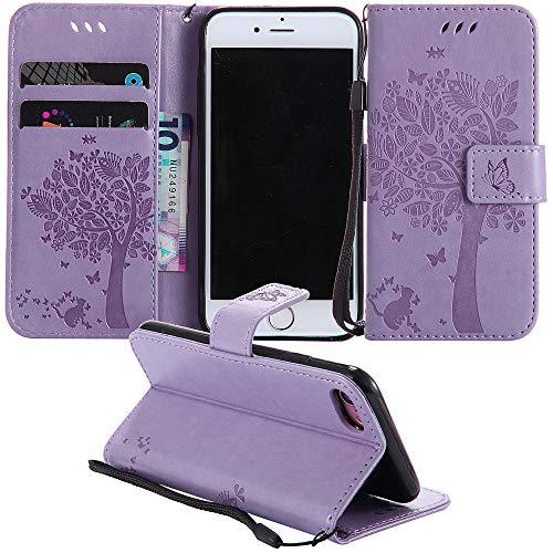 "MEUPZZK iPhone SE 2020 4.7"" / iPhone 8 / iPhone 7 Wallet Case, Embossed Cat and Tree Premium PU Leather [Folio Flip] [Kickstand] [Card Slots] [Wrist Strap] Cover for iPhone 7/8/SE 2020 (S-Lavender)"