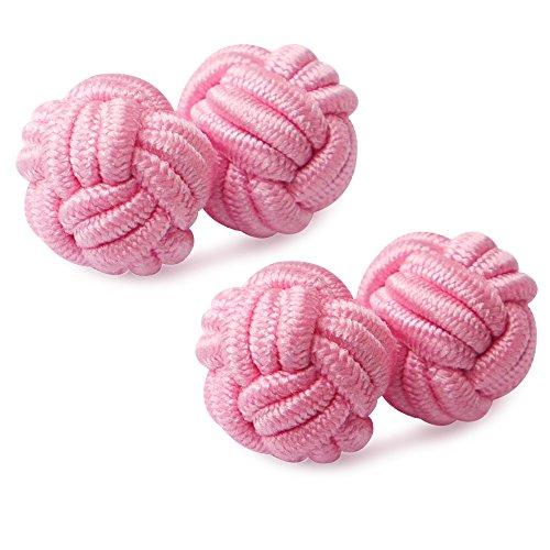 HONEY BEAR 1 Paar Herren/Damen Seide Stoff Knoten Seidenknoten Manschettenknöpfe für Hemd/Kleid zum (Rosa)