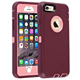 Co-Goldguard Case for iPhone 6/6s,Heavy Duty 3 in 1 Built-in Screen Protector Durable Cover Dust-Proof Shockproof Drop-Proof Scratch-Resistant Shell for Apple iPhone 6/6s 4.7 inch,Purple/Pink