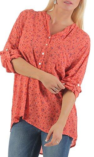 Malito Damen Bluse mit Blumen Print | Tunika mit ¾ Armen | Blusenshirt im Vintage Look - Shirt 6709 (Coral)