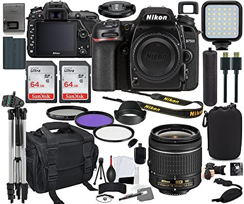 Nikon D7500 DSLR Camera with 18-55mm Lens Bundle + Prime Accessory Kit Including 128GB Memory, Light, Camera Case, Hand Grip & More