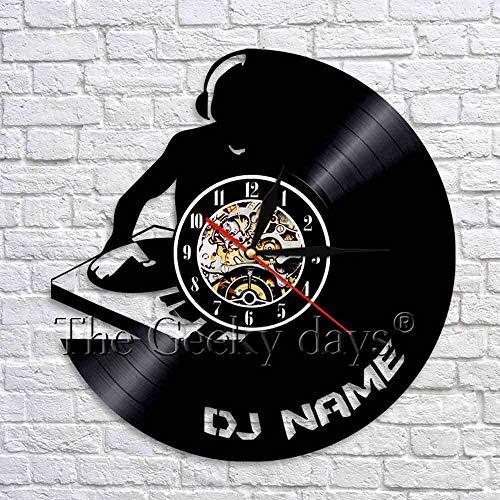 fdgdfgd Negro Retro CD Reloj DJ Reloj de Pared Reloj de Mesa de Disco de Vinilo Decoración Creativa para los Amantes de la Música de DJ   Grabar decoración de Luces de Halloween
