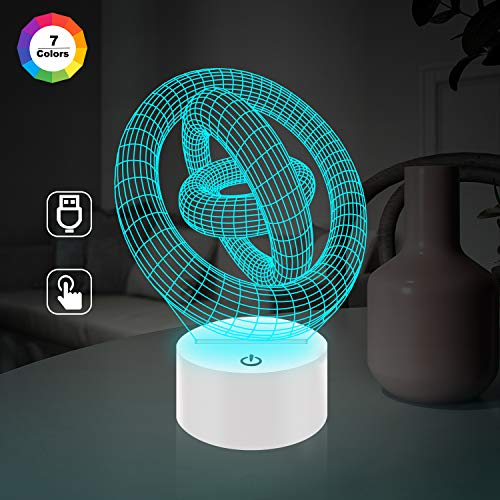 Optical Illusion 3D Lamp 7 Colour Changing GYRO,3D Night Light for Boys Girls Table Desk Lamp 7 Color Change Decor novelty Lamp - Perfect Gifts Birthday Festival Christmas for Baby Teens Friends Birthday Xmas Present