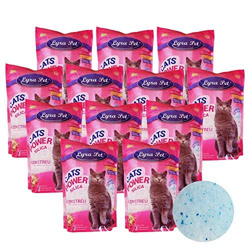 Lyra Pet® 12 x 5 l = 60 L Cats Power Silikat Katzenstreu klumpfrei Katze Streu