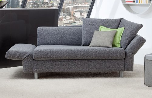 Schlafsofa Malou - 130x205cm - Elegantes Sofa mit Schlaffunktion - grau strukturiert