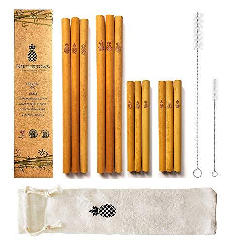 Namastraws Popotes de Bambú Orgánico Sustentable – 20cm – Set de 12 con 2 Cepillos de Limpieza y Bolsa…