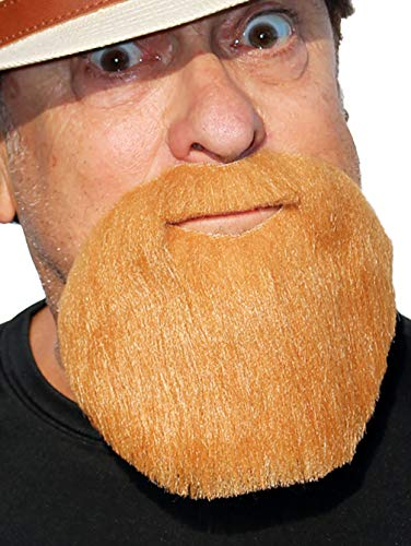 Realistic Extended GoateeFake Full Circle Beard, Novelty Costume Beard (Auburn)